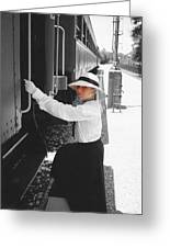 Traveling By Train - Black And White Focal Greeting Card