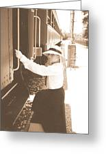 Traveling By Train - Sepia Greeting Card