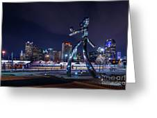 Traveling Man Stepping Out After Dark Greeting Card