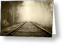 Traveling On The Tracks Antique Greeting Card
