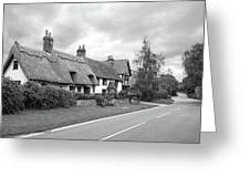 Travellers Delight - English Country Road Black And White Greeting Card