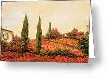 Tre Case Tra I Papaveri Greeting Card by Guido Borelli