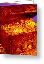 Treasure Chest With Gold Coins Greeting Card