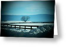 Tree And Fence In Snow Greeting Card