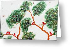 Tree And Red Birds 2 Greeting Card