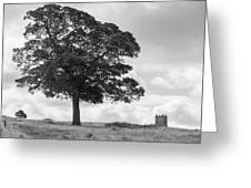 Tree And The Cage Tower In The Distance In Lyme Park Estate In B Greeting Card
