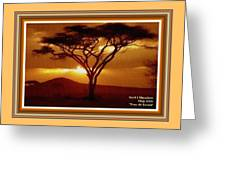 Tree At Sunset. L A With Decorative Ornate Printed Frame. Greeting Card