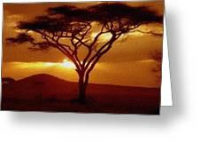 Tree At Sunset. L B Greeting Card
