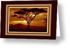Tree At Sunset. L B With Decorative Ornate Printed Frame. Greeting Card