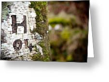 Tree Bark Graffiti - H 04 Greeting Card