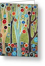 Tree Blooms And Birds Greeting Card by Karla Gerard