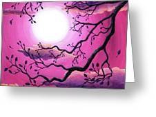 Tree Branch In Pink Moonlight Greeting Card