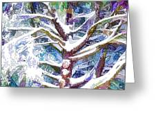 Tree Branches Covered By Snow In Winter Greeting Card