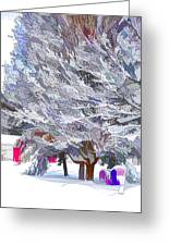 Tree Branches Covered By Snow  Greeting Card