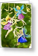 Tree Fairies On The Weeping Willow Greeting Card