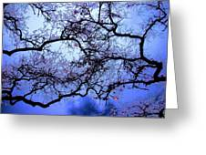 Tree Fantasy In Blue Greeting Card