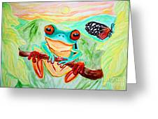 Tree Frog And Butterfly Greeting Card by Nick Gustafson