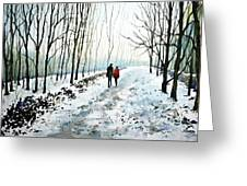 Tree Lined Stroll Greeting Card