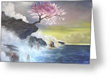 Tree On Cliff Greeting Card