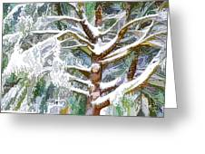 Tree With White Fluffy Snow Greeting Card