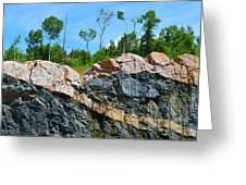 Trees Above The Pink And Grey Rock  Greeting Card