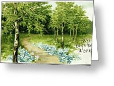Trees And Flowers Country Scene Greeting Card