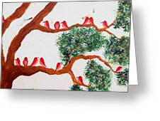 Trees And Red Birds 1 Greeting Card