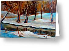 Trees At The Rivers Edge Greeting Card