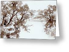 Trees By A River Greeting Card