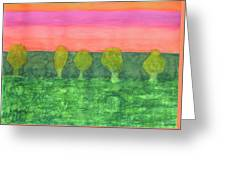 Trees, Green And Evening Sky Greeting Card