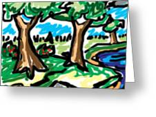 Trees W Water Ddl Greeting Card