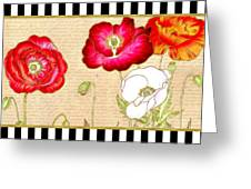 Trendy Red Poppy Floral Black And White Stripes Greeting Card