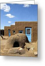 Tres Casitas Taos Pueblo Greeting Card