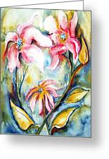 Tres Fleurs In Heat Greeting Card
