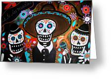 Tres Mariachis Greeting Card by Pristine Cartera Turkus