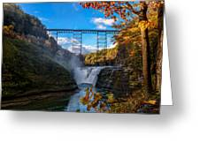 Tressel Over The High Falls Greeting Card by Dick Wood
