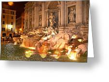 Trevi Fountain At Night Greeting Card