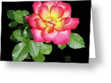 Tri-color Pink Rose2 Cutout Greeting Card