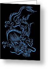 Tribal Line Chinese Dragon 1 Greeting Card