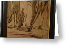 Tribal Man With Wooden Waste Greeting Card
