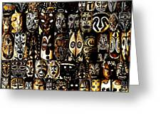 Tribal Masks Of Papua New Guinea Greeting Card by Per Lidvall