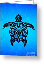Tribal Turtle Hibiscus Greeting Card