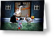 Trick Or Treat Time For Little Ducks Greeting Card