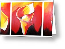 Triple Lily Paintings Greeting Card