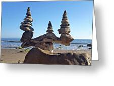 Triple Stack On Driftwood Greeting Card