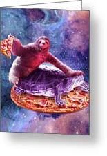 Trippy Space Sloth Turtle - Sloth Pizza Greeting Card