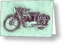 Triumph Speed Twin 3 - 1937 - Vintage Motorcycle Poster - Automotive Art Greeting Card