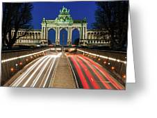 Arcade Du Ciquantenaire At Blue Hour Greeting Card by Barry O Carroll