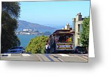 Trolley Descending Into San Francisco Greeting Card