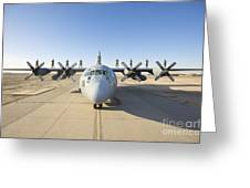 Troops Stand On The Wings Of A C-130 Greeting Card